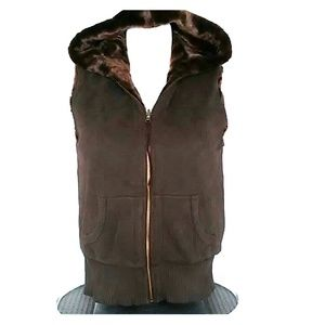 Old Navy Reversible Faux Fur Hooded Vest Large